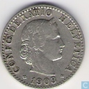 Switzerland 20 rappen 1903