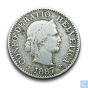 Switzerland 5 rappen 1887