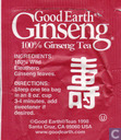 Tea bag label - Good Earth - Ginseng