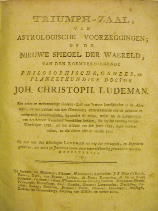 astrologie joh christoph ludeman triumph zaal van astrologische voorzeggingen 1787. Black Bedroom Furniture Sets. Home Design Ideas