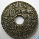 Tunisia 10 centimes 1919 (year 1337)