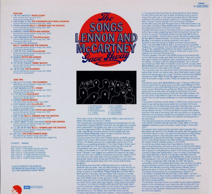Various The Songs Lennon And McCartney Gave Away