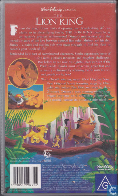 the lion king - vhs video tape