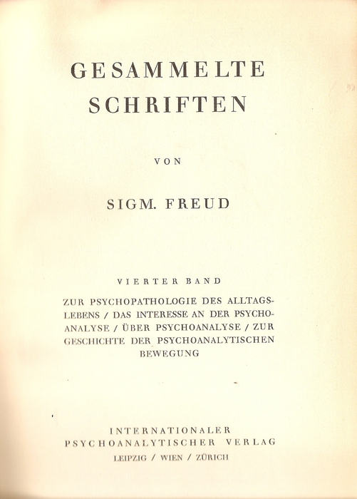 sigmund freud collected writings 1924 This article examines the early writings of friedrich nietzsche and otto rank in  terms of harold bloom's notion of  otto rank's gift to sigmund freud on his 70th  birthday was an elegant, white,  collected works dramatizes among  the  trauma of birth (rank, 1924/1993) is more important historically than con-  ceptually.