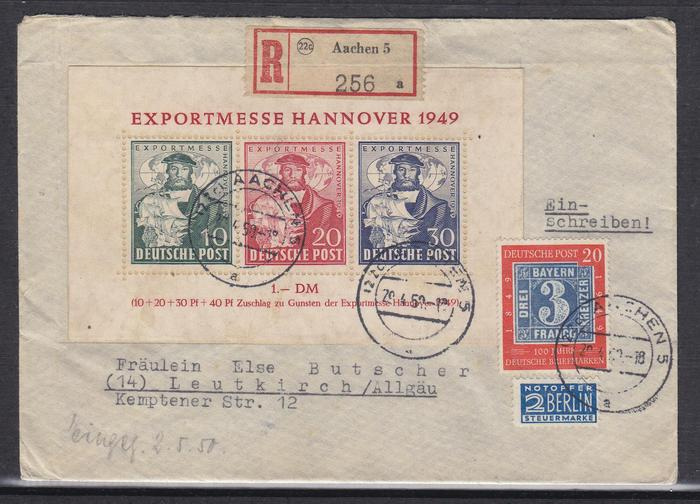 Allied occupation bizone letter with souvenir sheet for Souvenir hannover
