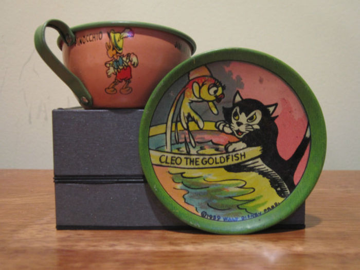 Tin Cup Saucer Pinocchio & others,