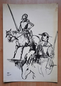 Balm, Harry - dessin original - Don Quichotte - (1972)