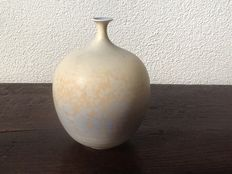 Hein Severijns - soft-blue/ochre coloured vase with crystal glazing
