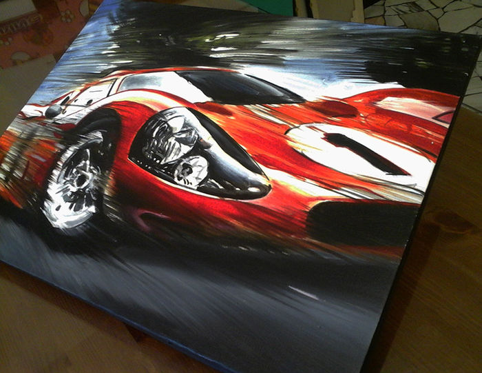 ford gt40 mk4 car original oil painting on canvas hand made and hand signed by italy s artist. Black Bedroom Furniture Sets. Home Design Ideas
