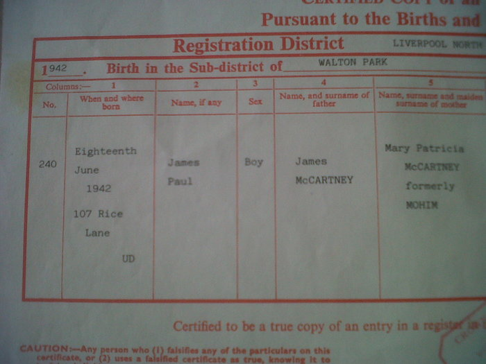 Paul McCartney Birth Certificate