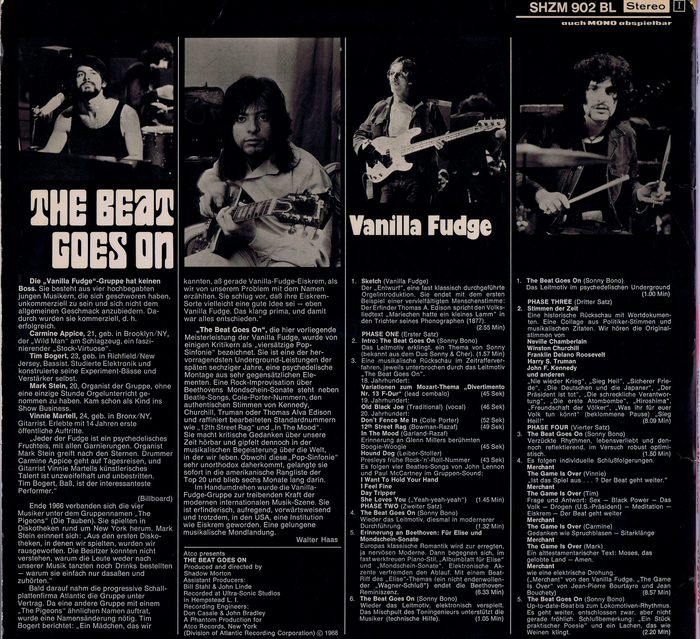 Vanilla Fudge Lp The Beat Goes On Atco Shzm 902 Bl
