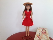 Siehe unsere Barbie - Mattel - Vintage Skipper Brunette stock No.0950 Mit Karton und Fuß und Set Red Sensation #1901