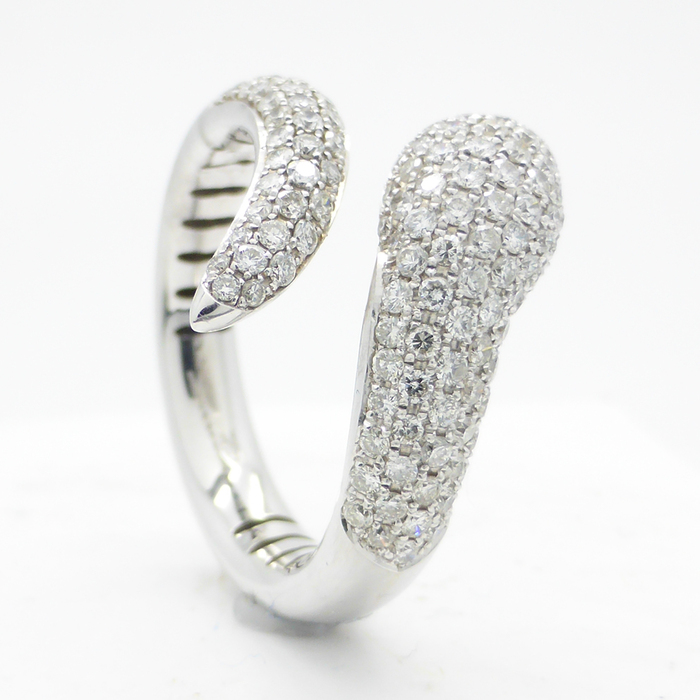 18k white gold snake ring with 1 22 ct in diamonds catawiki
