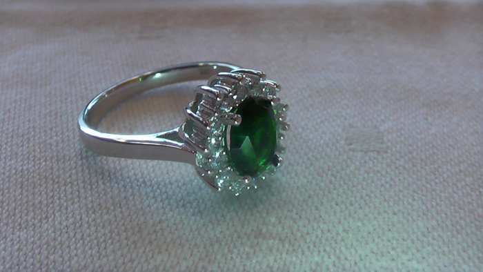 silver ring with synthetic emerald catawiki