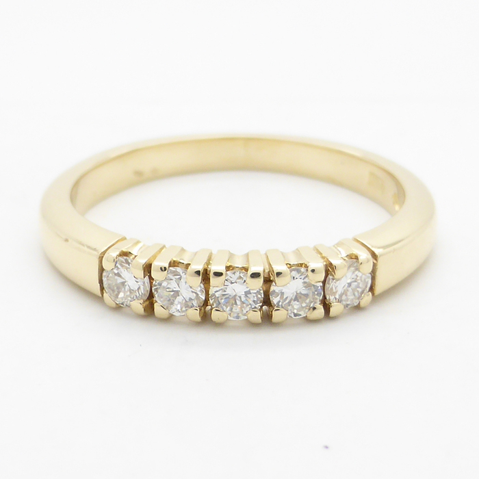 14K yellow gold channel ring with 0 25 worth of diamonds Catawiki