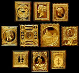 Check out our World - Collection of 10 different silver stamps, 24kt gilt
