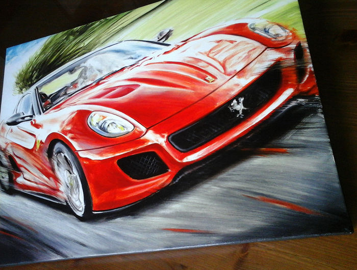 ferrari 599 gto sportcar car original oil painting on canvas hand signed by artist andrea del. Black Bedroom Furniture Sets. Home Design Ideas