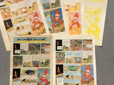 Hergé - 4 x Tirage de couleurs successives (p.58) + Planche - On a marché sur la Lune/Golden Press New York - (1954/1959)