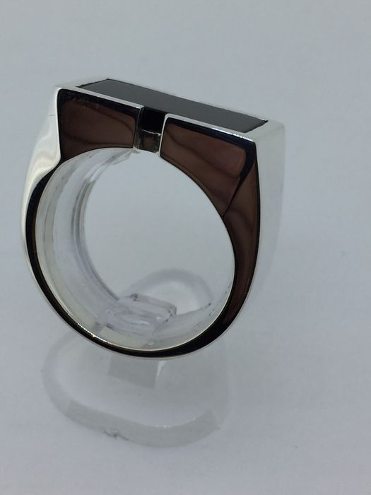silver signet ring set with onyx catawiki