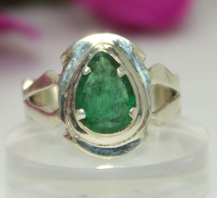 Men's ring set with natural emerald of 3 ct silver Catawiki