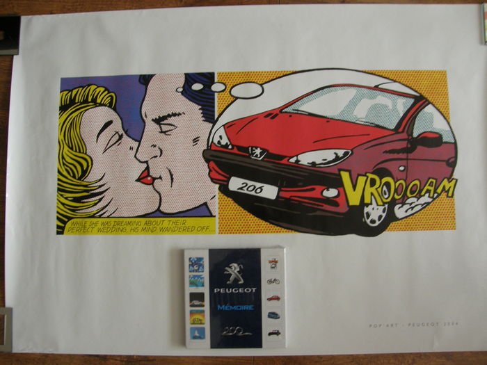 pop art poster peugeot 206 en peugeot m moire spel. Black Bedroom Furniture Sets. Home Design Ideas