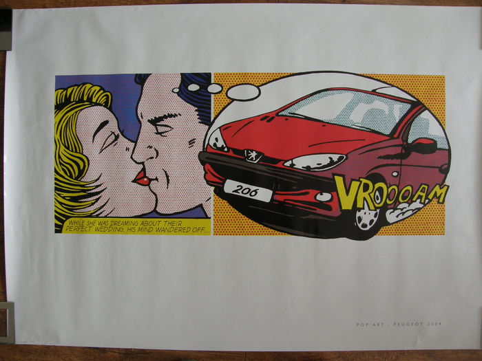 pop art poster peugeot 206 en peugeot m moire spel catawiki. Black Bedroom Furniture Sets. Home Design Ideas