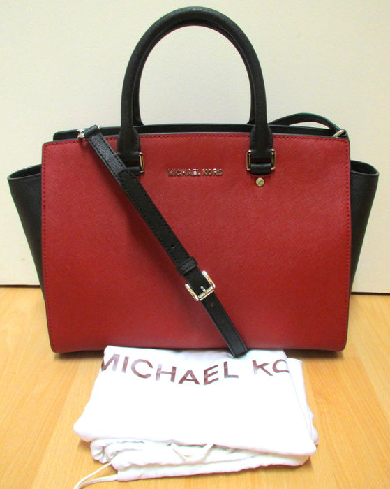 original michael kors selma large leder tasche handtasche rot schwarz. Black Bedroom Furniture Sets. Home Design Ideas