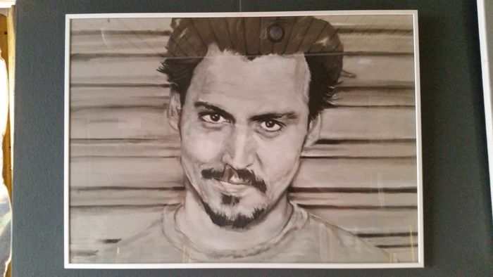 Johnny depp pastel schets ingelijst 50x70cm for Stephan evenblij