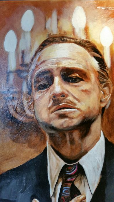 The godfather the family preach schilderij op canvas for Stephan evenblij