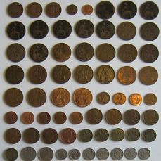 Great Britain - 1/2 Penny-1/2 Crown -  Victoria-Elizabeth II - 80 coins