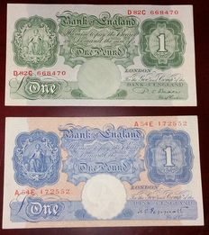 Groot Brittannië, Bank of England - 1 Pound 1940 en 1950 - 2 Emergency issue Banknotes