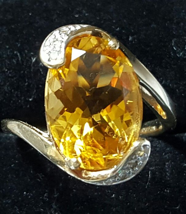 9k Yellow Gold Diamond 5k Citrine Ring Catawiki