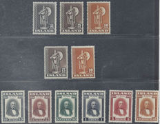 Iceland 1939/1945 - Selection of Michel 214C, 230C, 240C, 230A, 240A and 231/36
