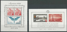 Switzerland 1938 - Selection of Michel miniature sheets 1, 4, 7 and 12