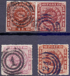 Denmark 1854/1864 - Selection of Yvert 7, 8 in pair and 10