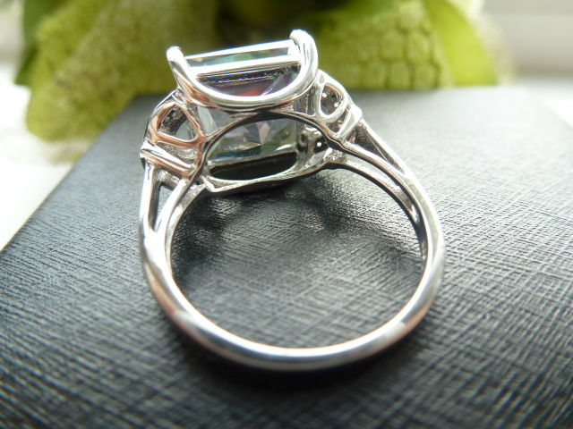 silver ring with a mystic topaz weight 8 047ct catawiki