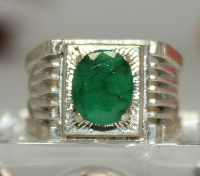 Men s ring set with natural emerald approx 3 ct Catawiki