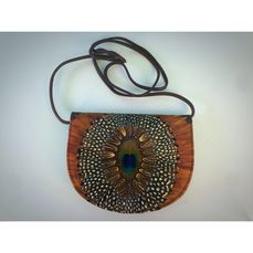 Shoulder bag with peacock feathers
