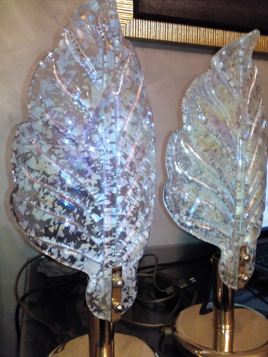 lot 2 pieces of glass and crystal vintage 60s (2 bedside ...
