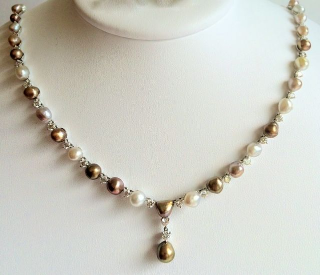 Natural Saltwater Pearl Necklace: Natural Pinctada & Pteria Salt Water Pearl Necklace In