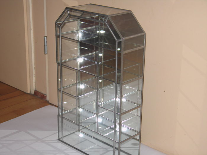 Ikea Malm Attached Nightstand ~ Creative Glass  glazen vitrine kast met spiegel  groot model