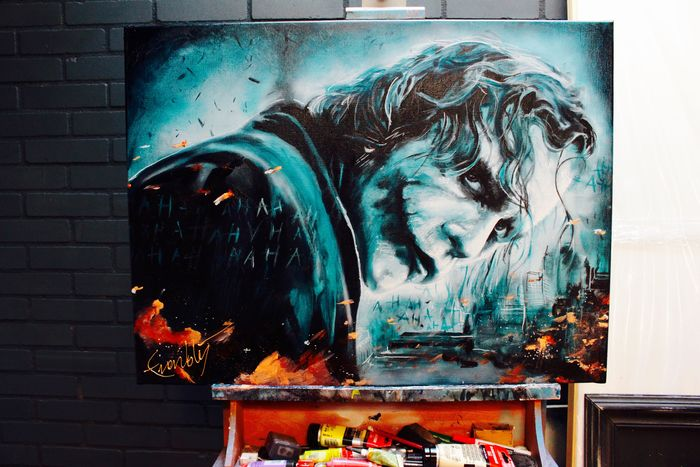 The dark knight joker explosion artwork on canvas for Stephan evenblij