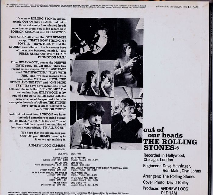 the rolling stones out of our heads ll 3429 1966 american mono issue of this 1965 album