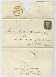 Great Britain 1840 - Queen Victoria Penny Black - On letter