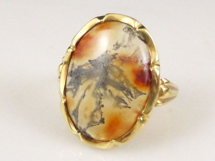 Golden Moss Agate: 14 Karat Yellow Gold Ring, Set With A Moss Agate Cabochon