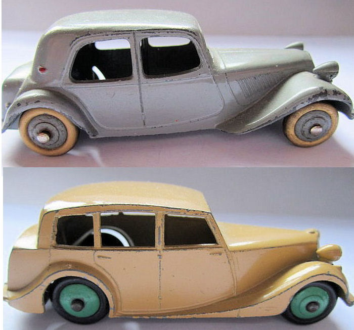 Dinky toys scale 1 43 lot 2 models citro n traction avant and triumph 1800 - Bed met schaal ...