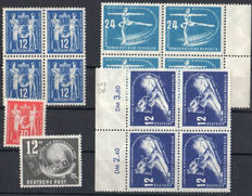 GDR 1949/1956 - Selection of predominantly miniature sheets of four