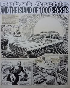 """Kearon, Ted - Archie, de man van staal - Originele Pagina - """"Robot Archie and the island of the 1000 secrets"""" - (1969)"""
