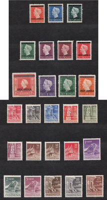 Indonesia 1949 - Postage stamps and Buildings - NVPH 351/361 and 374/388