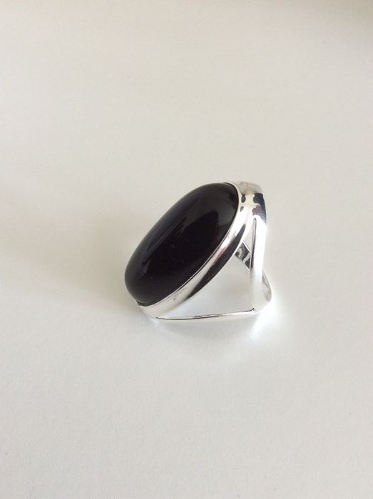 silver ring with onyx catawiki